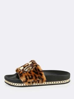 Fuzzy Leopard Flatform Slides LEOPARD