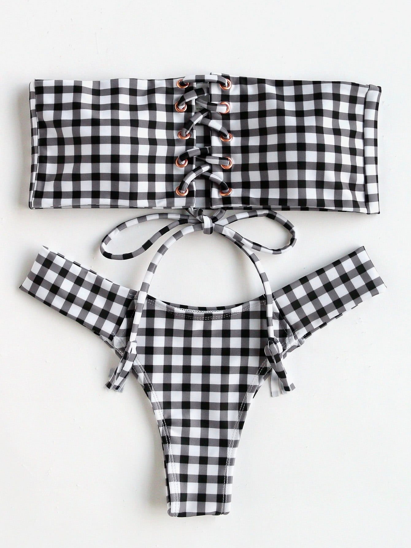 Lace Up Gingham Print Bandeau Bikini Set набор буров hammer flex 201 902 dr sds набор no2 5 6 8 x 110 6 8 10 x 160 6шт