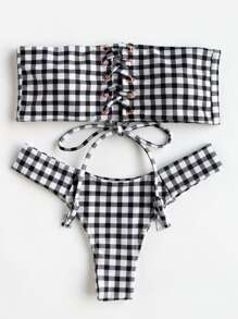 Lace Up Gingham Print Bandeau Bikini Set