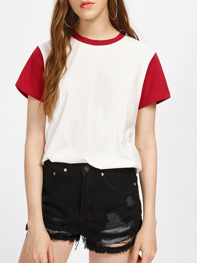 Contrast Neck And Sleeve Tee