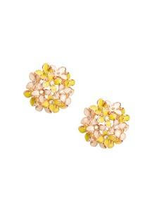 Rhinestone Clover Design Flower Shaped Stud Earrings