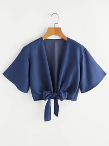 Knotted Hem Crop Kimono