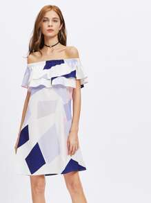 Bardot Frill Tiered Geo Print Dress
