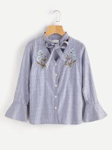Bow Tie Choker Neck Bell Cuff Embroidered Blouse