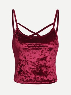 Crisscross Crushed Velvet Cami Top