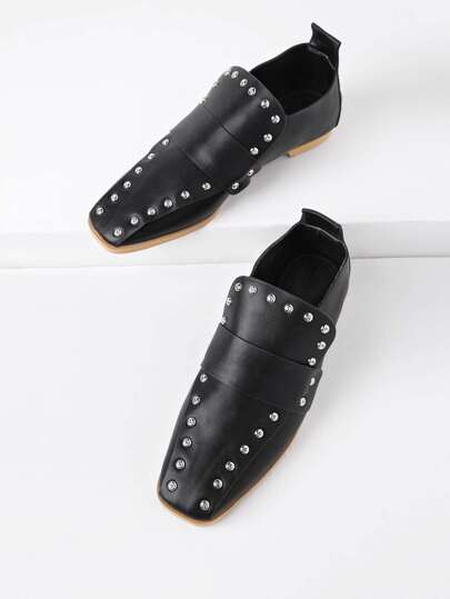 Studded Detail Square Toe PU Flats