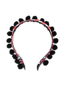 Embroidery Chevron Pom Pom Headband