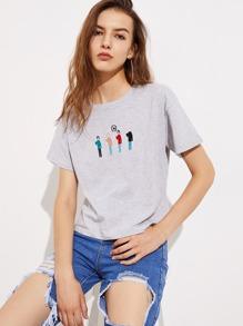 Camiseta tejida de marga con bordado