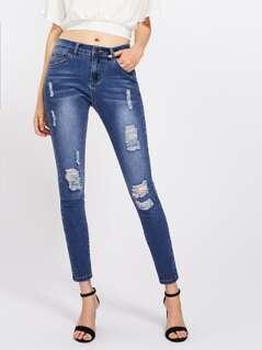 Bleach Wash Shredded Jeans
