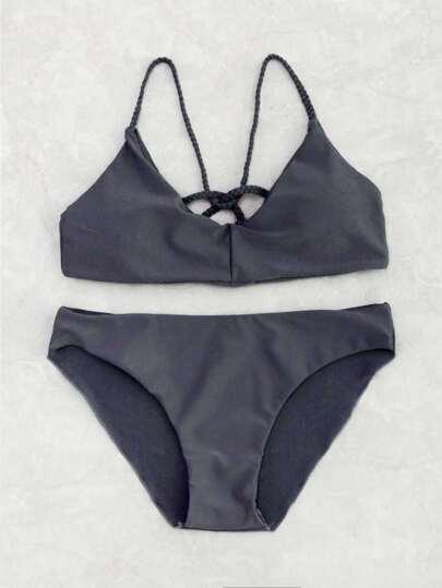 Ensemble de bikini à bretelle tissée avec un nœud à dos