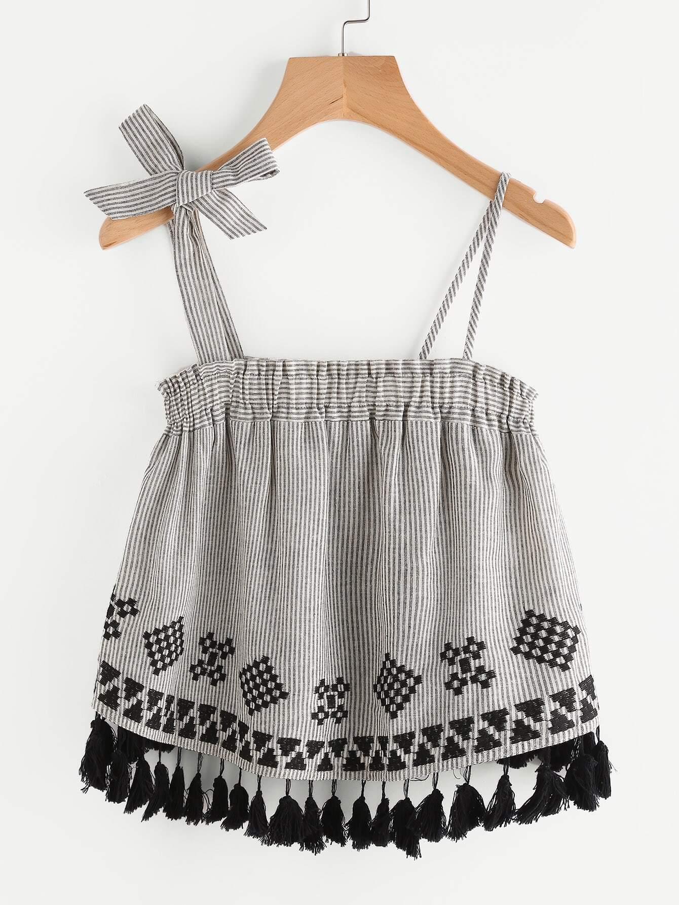 Фото Tasseled Trim Geo Embroidery Asymmetric Strap Top. Купить с доставкой