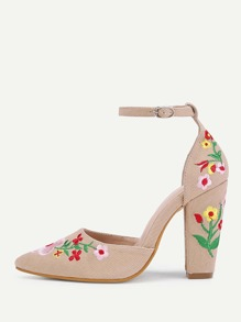Calico Embroidery Pointed Toe Denim Heels