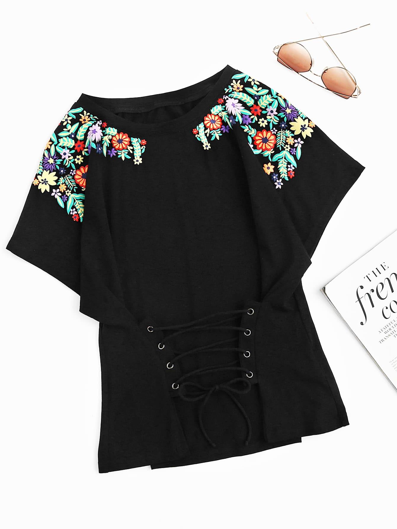 Фото Flower Print Lace Up Dolman T-shirt. Купить с доставкой