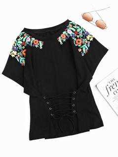 Flower Print Lace Up Dolman T-shirt