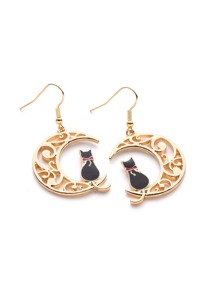 Hollow Moon Drop Earrings With Cat