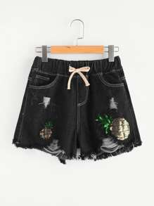 Sequin Pineapple Drawstring Waist Denim Shorts