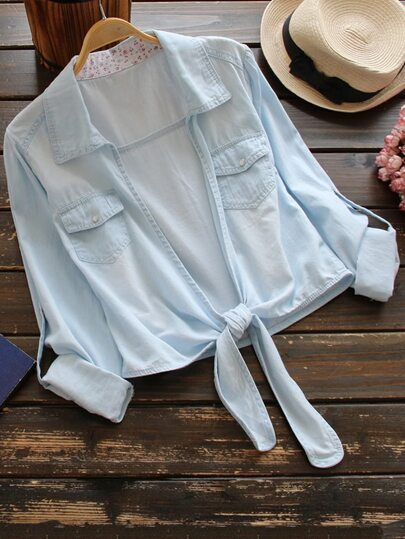 Roll Cuff Open Front Knot Denim Top