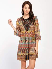 Tasseled Tie Beaded Embroidered Neck Tunic Dress