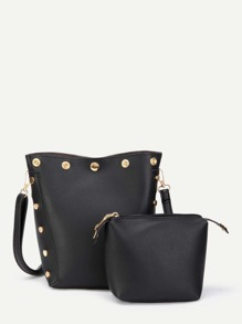 Magnetic Button PU Shoulder Bag With Inner Pouch