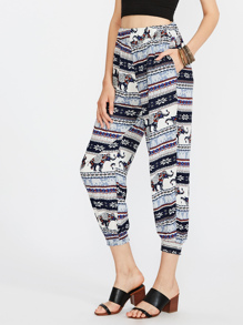Aztec Print Harem Pants