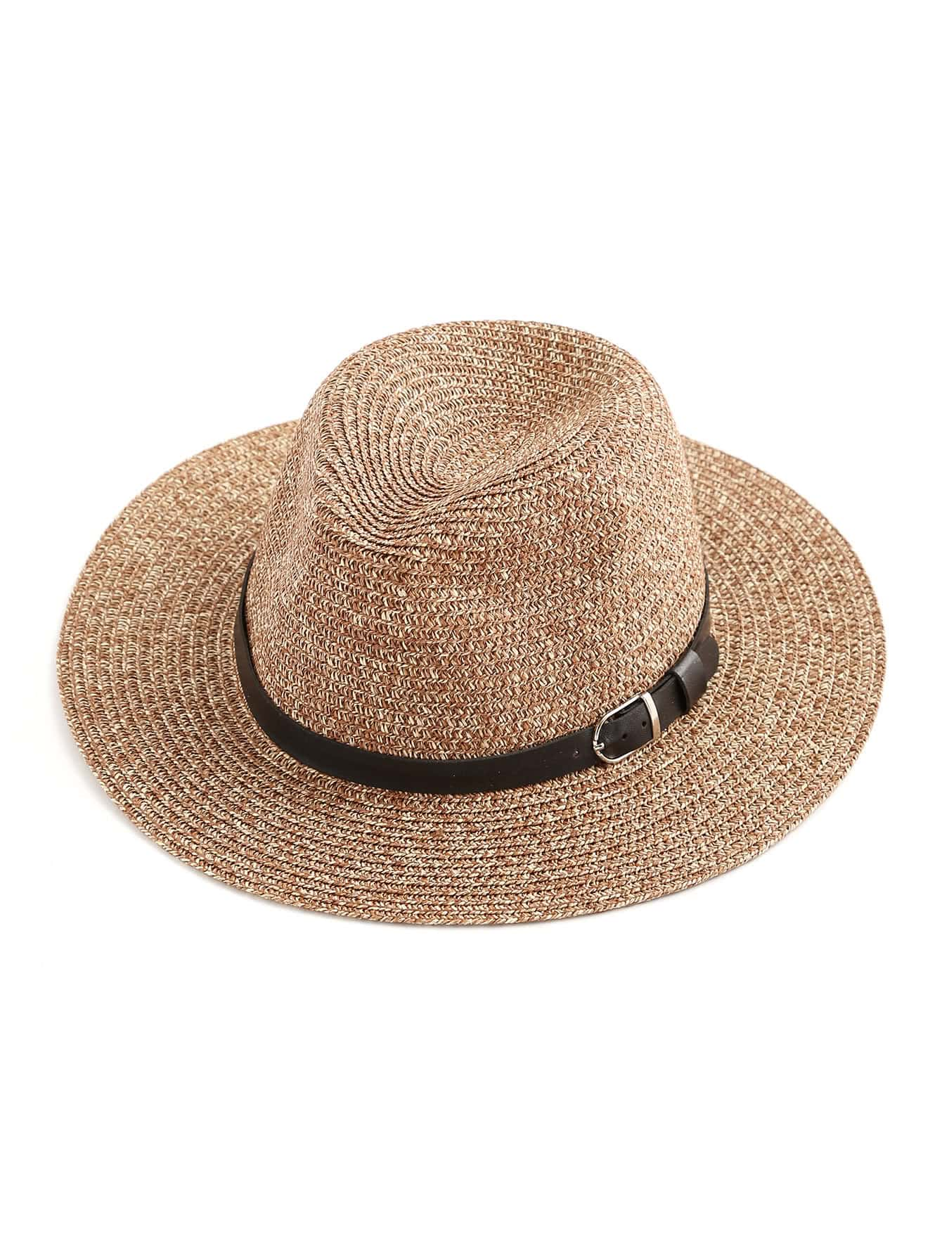 Faux Leather Band Beach Hat