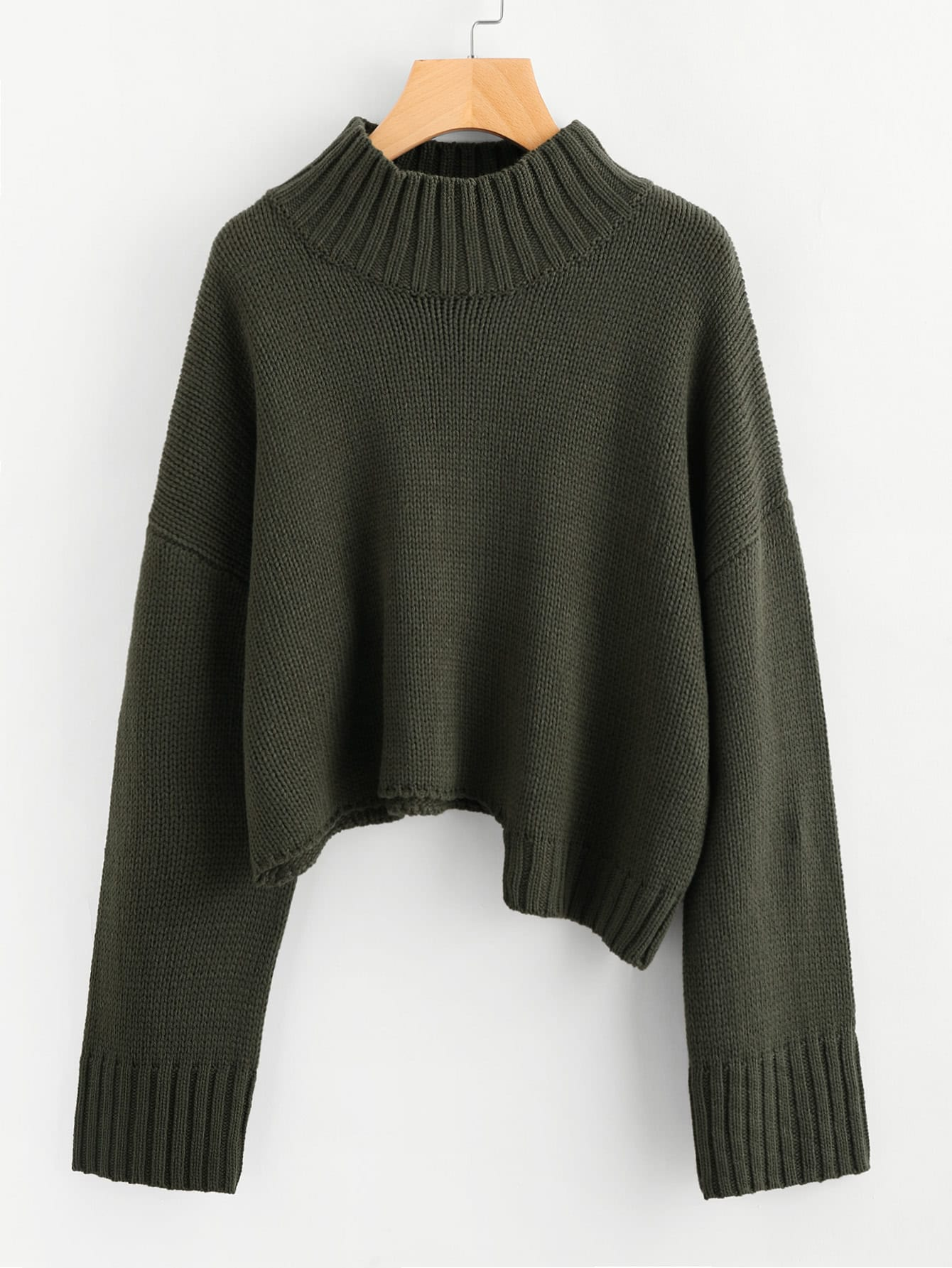 Ribbed Trim Staggered Hem Jumper sweater170710450