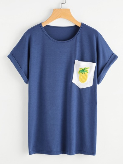 Pineapple Patch Pocket Cuffed Tee