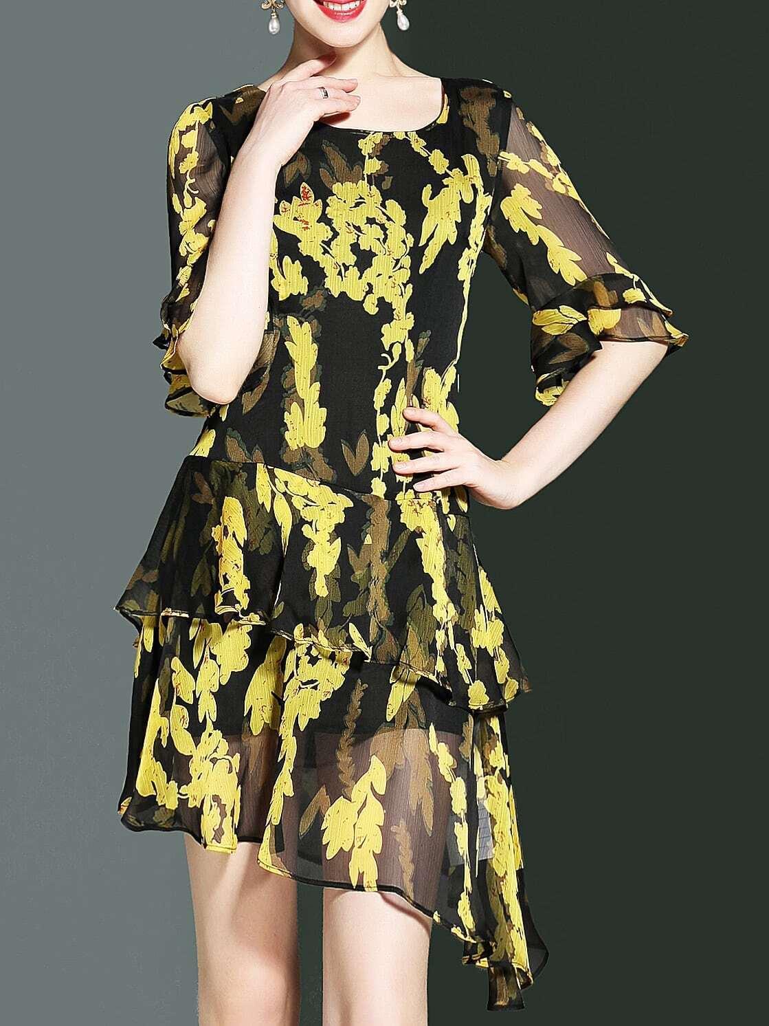 Фото Bell Sleeve Floral Asymmetric Dress. Купить с доставкой