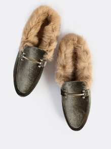 Fur Lined Point Toe Gold Buckle Loafers OLIVE