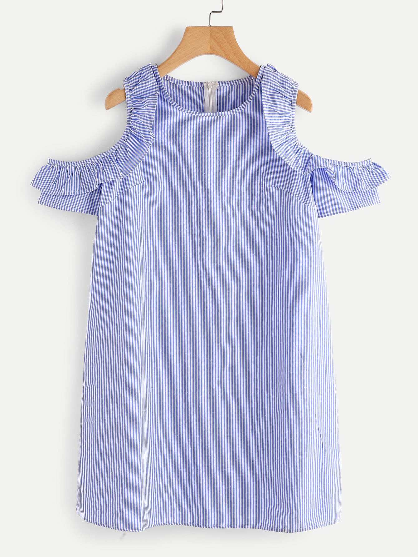 "Vertical Striped Open Shoulder Frill Trim Dress oribe увлажняющая маска signature moisture ""вдохновение дня"" 175ml"