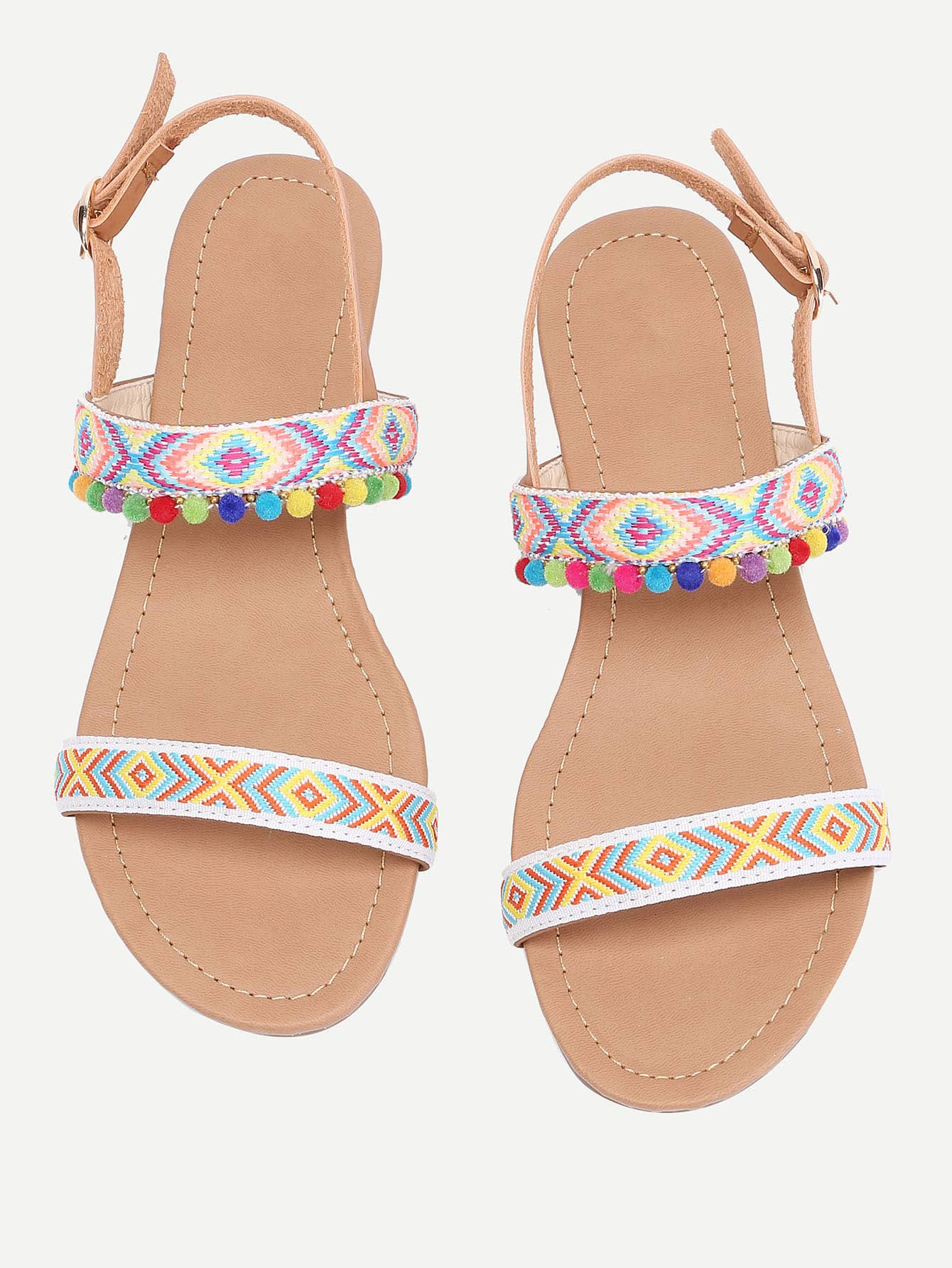 Фото Pom Pom Embellished Flat Sandals. Купить с доставкой