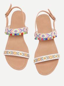 Pom Pom Embellished Flat Sandals