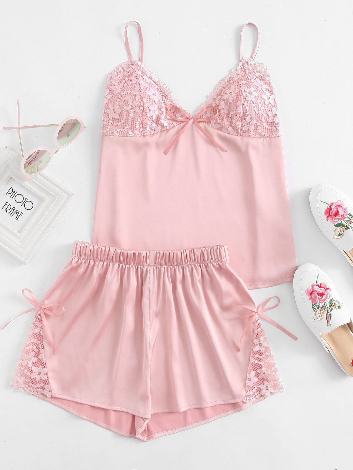Floral Lace Detail Bralette Cami Top With Shorts Pajama Set pajama lace trim cami top and shorts