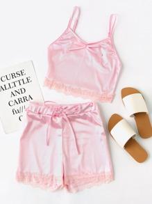 Conjunto de pijama de satén de encaje