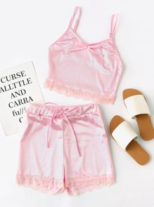 Satin Scallop Lace Trim Cami Pajama Set