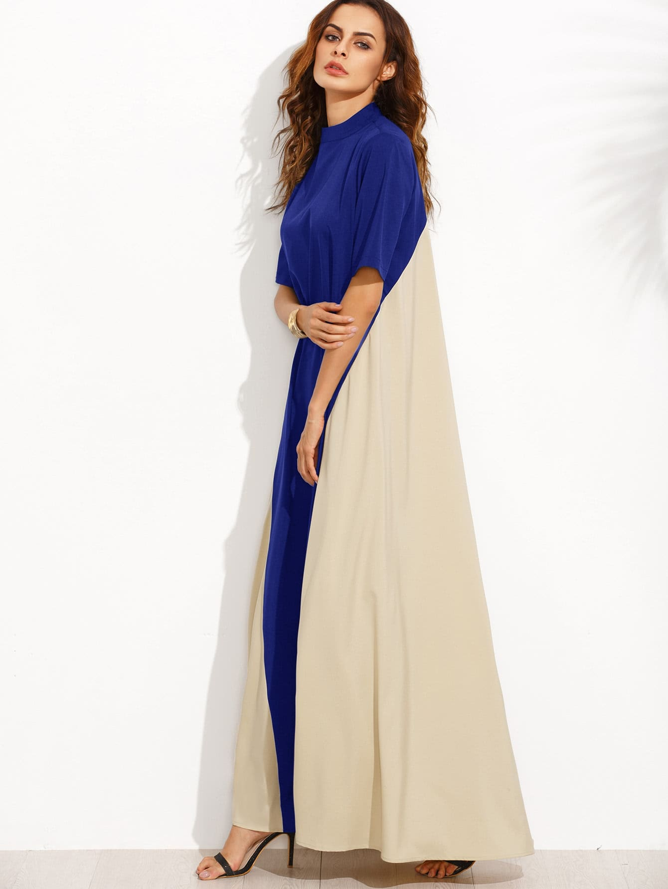 Color Block Mock Neck Floor Length Tent Dress