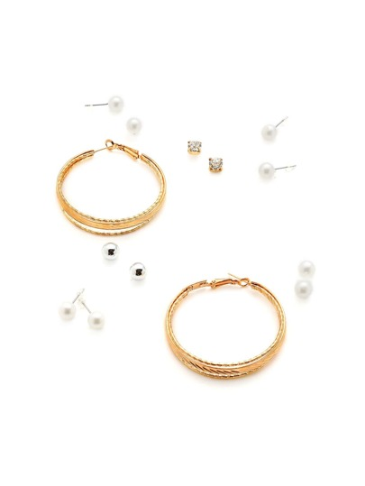 Faux Pearl Stud Earrings And Hoop Earrings