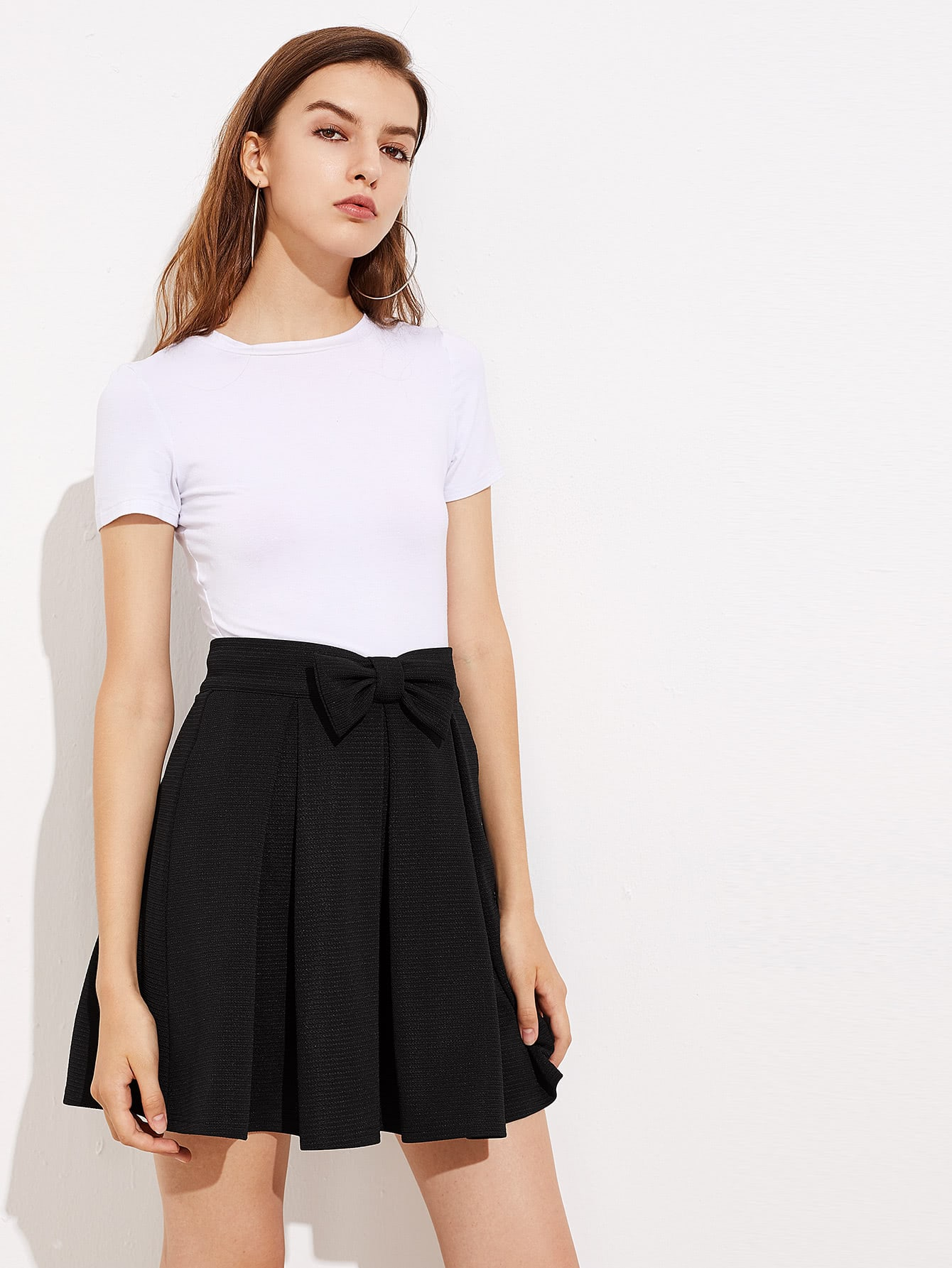 Bow Front Box Pleated Skirt