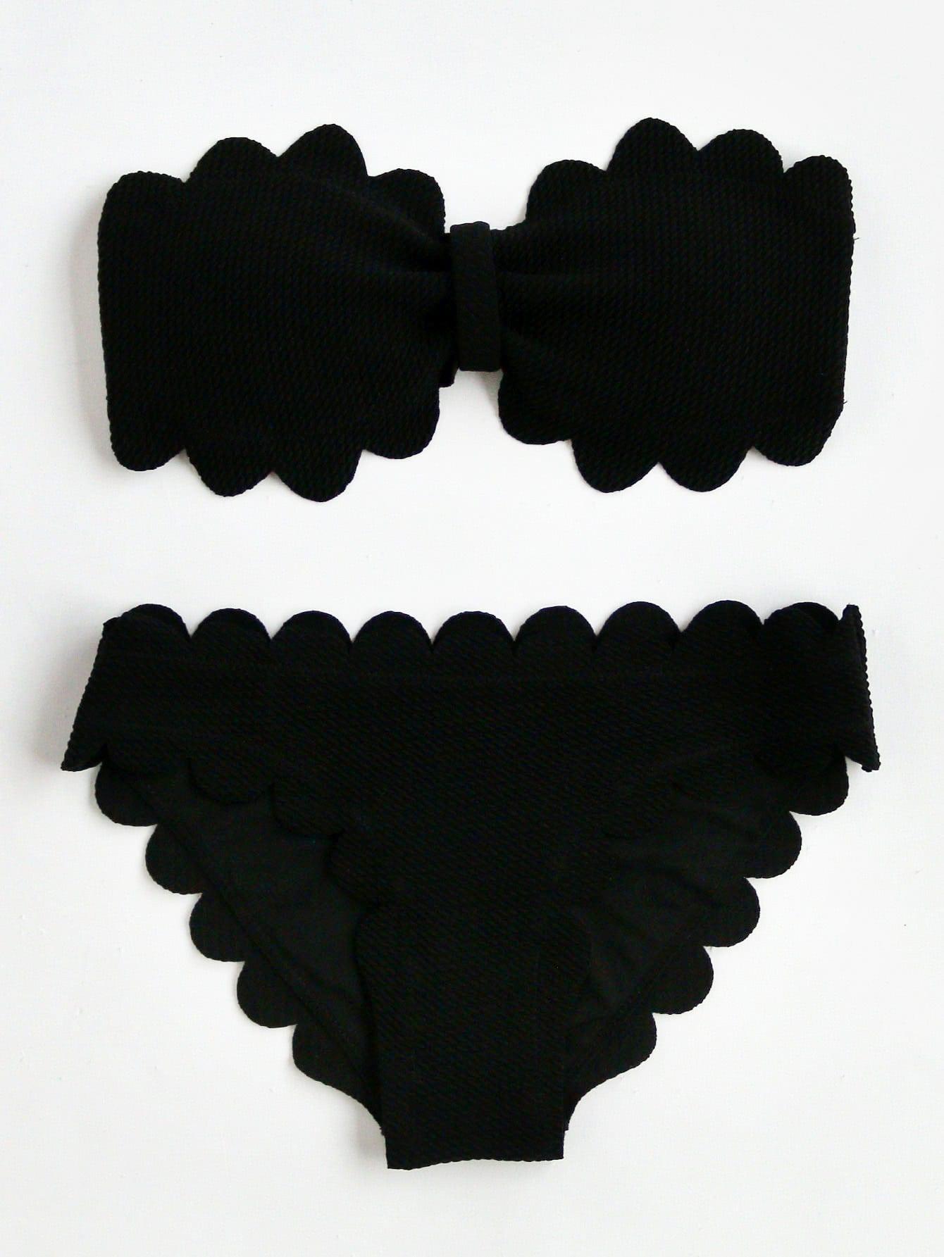 Фото Scalloped Trim Bandeau Bikini Set checker knot bikini set