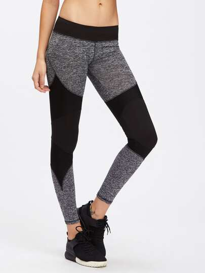 Two Tone Marled Knit Leggings