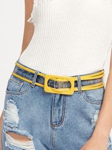 Rectangle Buckle Clear Waist Belt