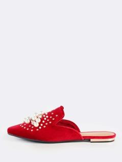 Studded Pearl Velvet Slip On Loafers RED