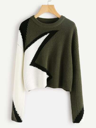 Color Block Geo Pattern Jumper