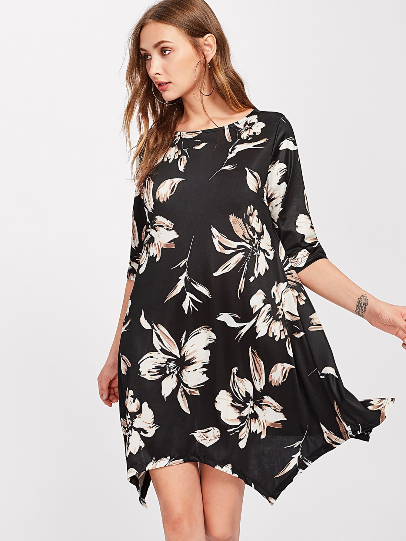Фото Flower Print Hanky Hem Dress. Купить с доставкой