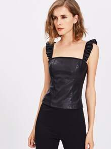 Frill Strap Faux Leather Top