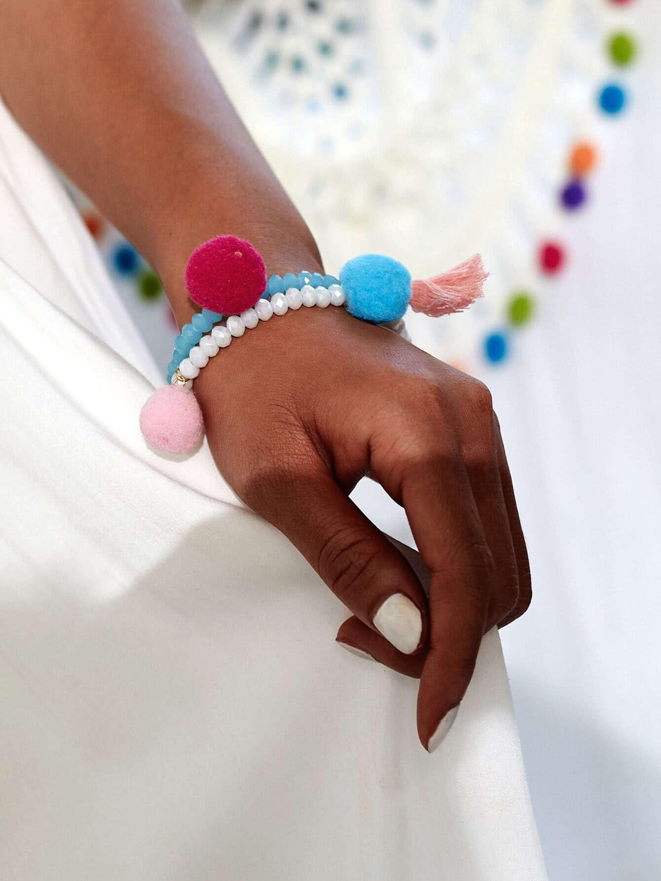 Фото Pom Pom & Tassel Design Beaded Bracelet Set. Купить с доставкой