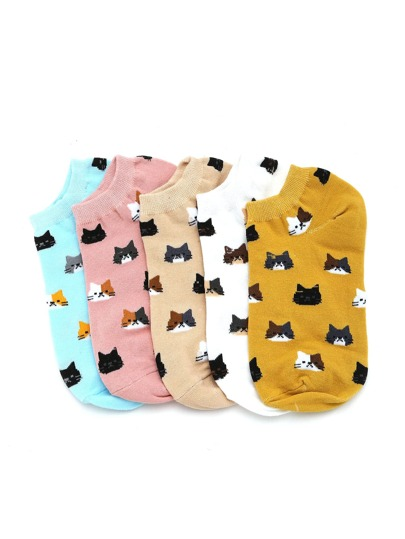 Calcetines invisibles con estampado de gato 5 pares