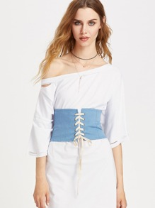 Contrast Lace Up Denim Corset Belt