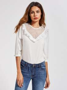Frill Trim Eyelet Yoke Top