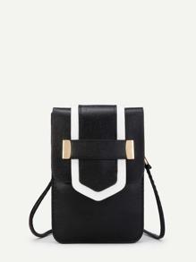 Contrast Trim PU Flap Cross Body Bag